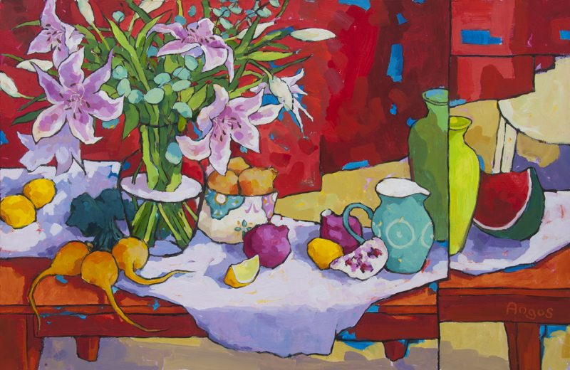 """Outdoor Warmth with Lilies"" Acrylic on Wood, 30"" x 46"" $5,800 $5,800"