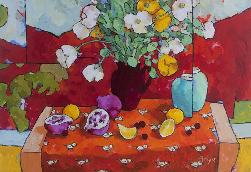 """Poppies and Lemons on Bird Cloth"" Acrylic on Panel, 24"" x 36"" $4,500"