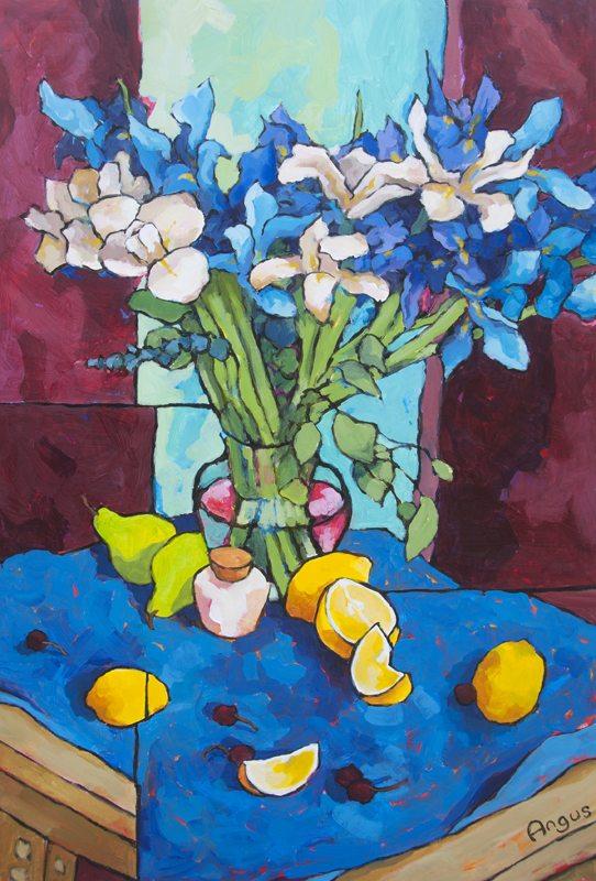 blue iris on blue
