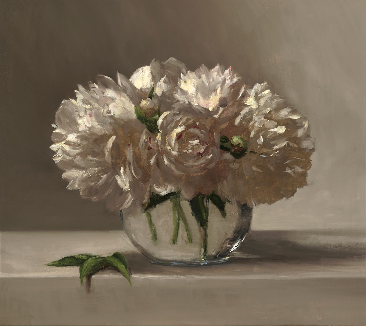 Sarah Lamb - Peonies in Glass Vase 18x16