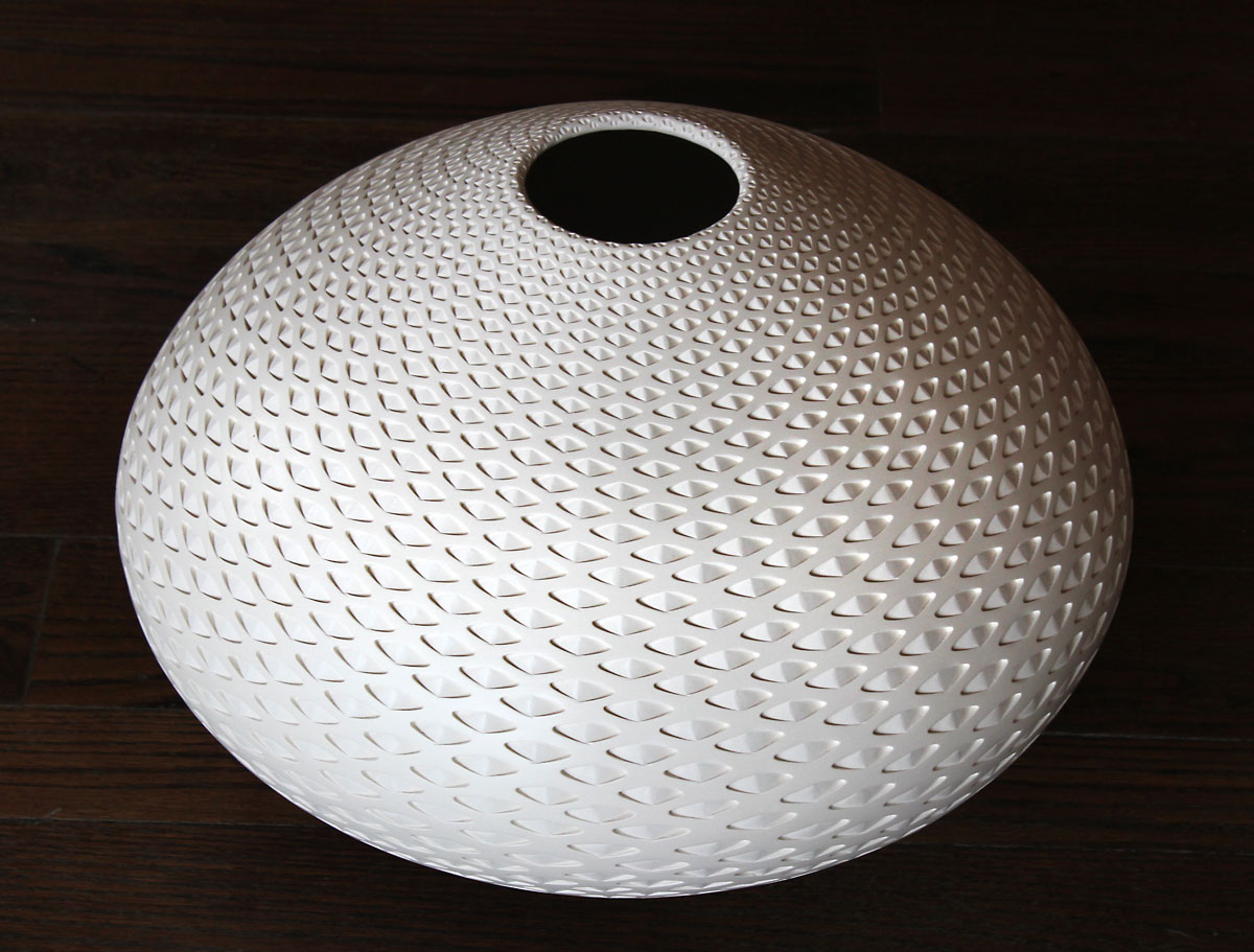 Michael Wisner - Large White Oval, pottery