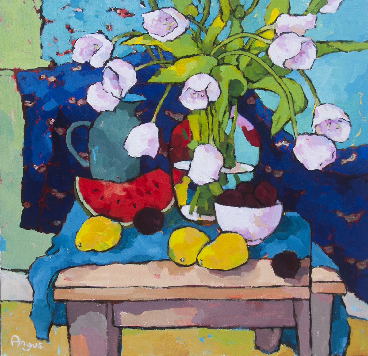 Angus - Tulips & Papaya with blue