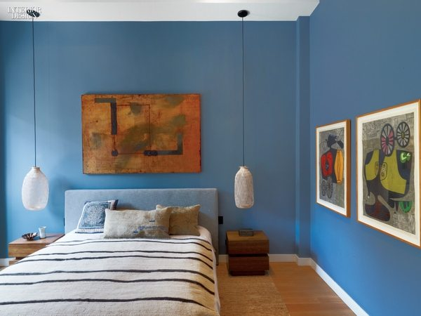 Michael Kessler painting in a loft in New York City's Chelsea district. As illustrated in Interior Design Magazine