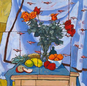 Angus Wilson - Roses and Fruit with Bird Cloth