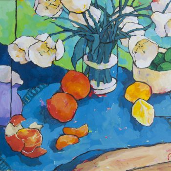 Angus Wilson - White Tulips Awash with Green