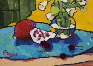 Angus Wilson - Cherries and Pomegranate on Blue