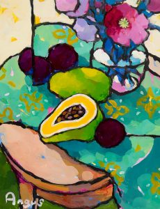 Angus Wilson - Study of a Papaya with Plums