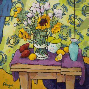 Angus Wilson - Sunflowers, Pears, and Papaya with Fish Drape