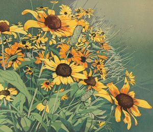 Sherrie York Late Summer Blooms detail Reduction Linocut 12 x 18