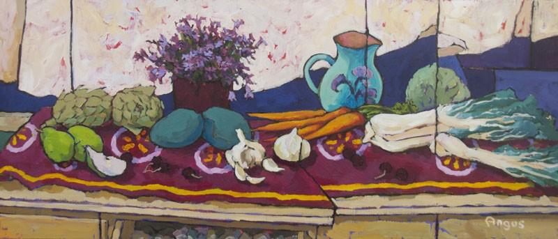 Angus Wilson - Campanula and Jug on Long Table