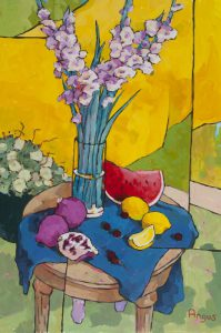 Angus Wilson - Gladioli with Pomegranates