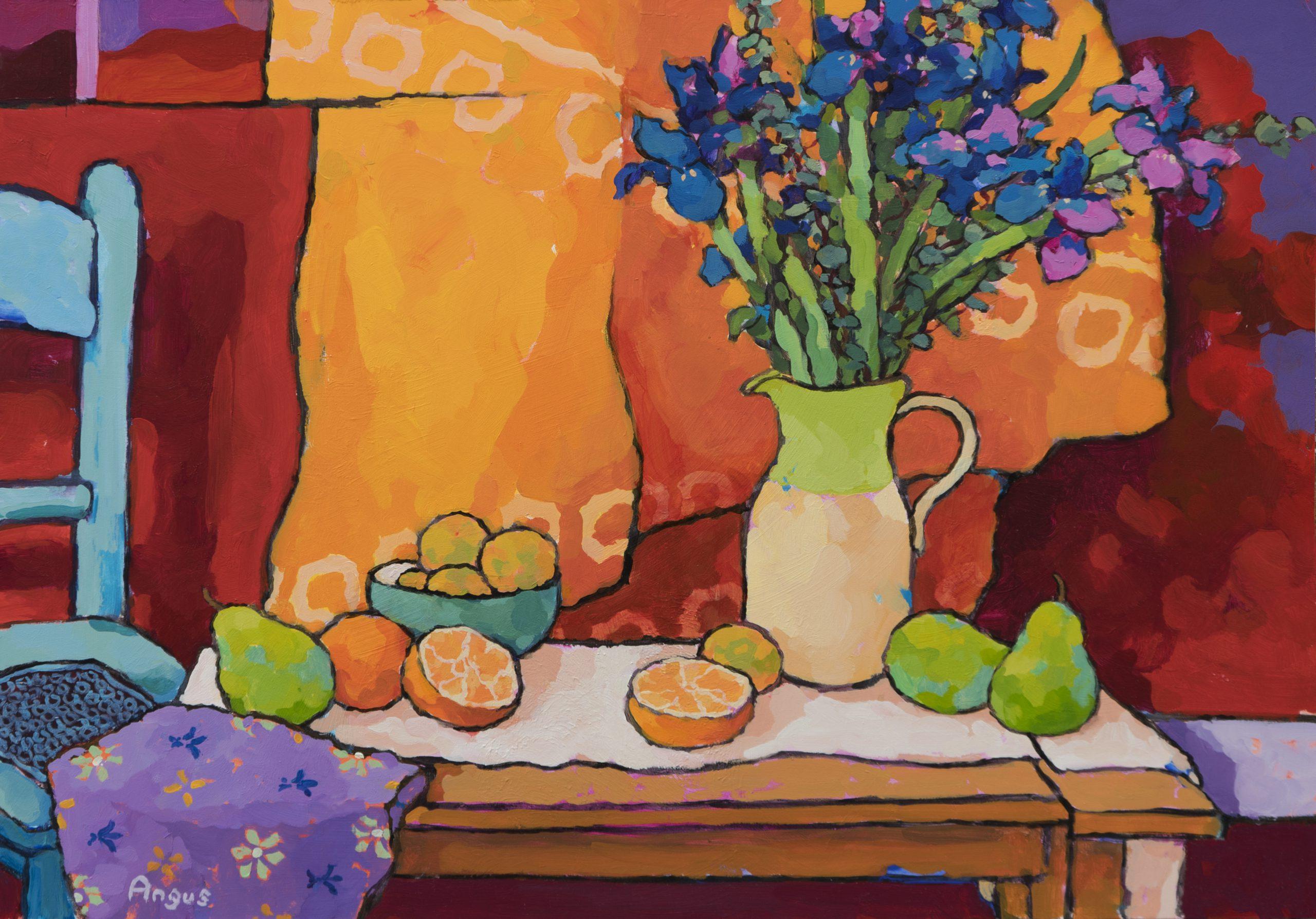 Angus Wilson - Oranges, Pear, & Apricot with Iris
