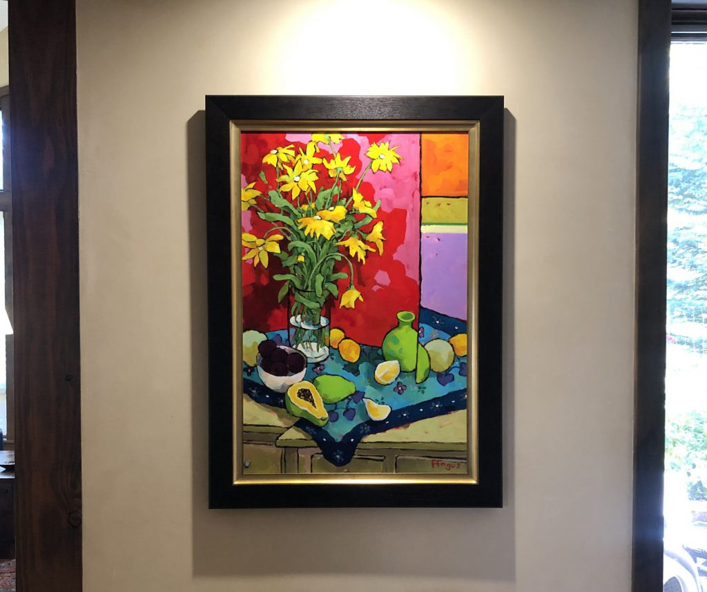 Angus Wilson still life painting in situ