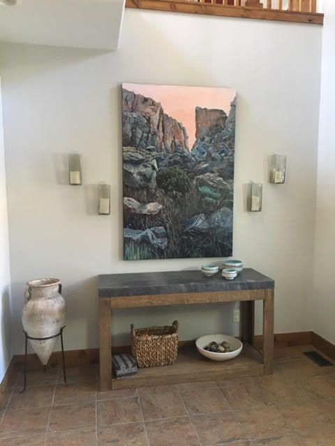 Heather Foster painting in situ entryway interior design