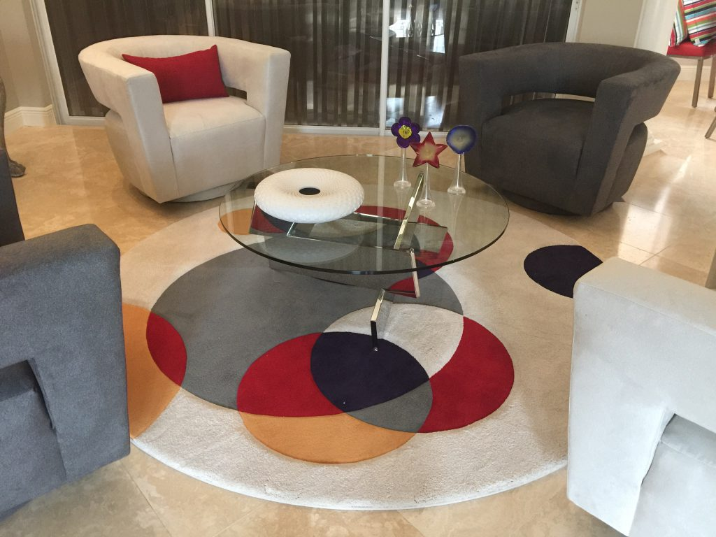 Michael Wisner handmade pottery in situ, living room interior