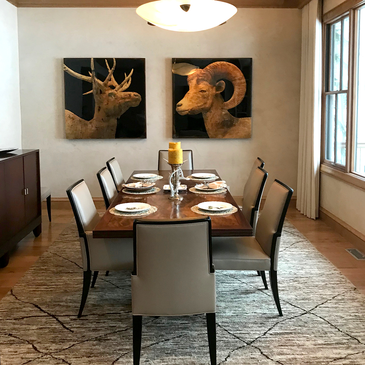 Mike Weber artwork in situ, dining room interior
