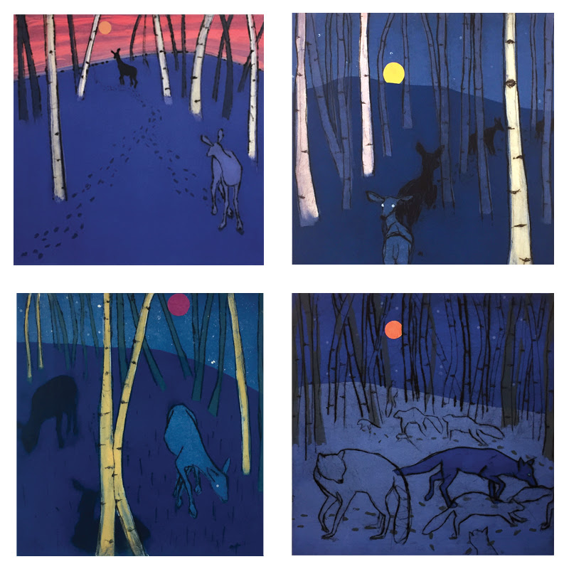 "Paula Schuette Kraemer's ""Night Series,"" Monoprint, Monotype."
