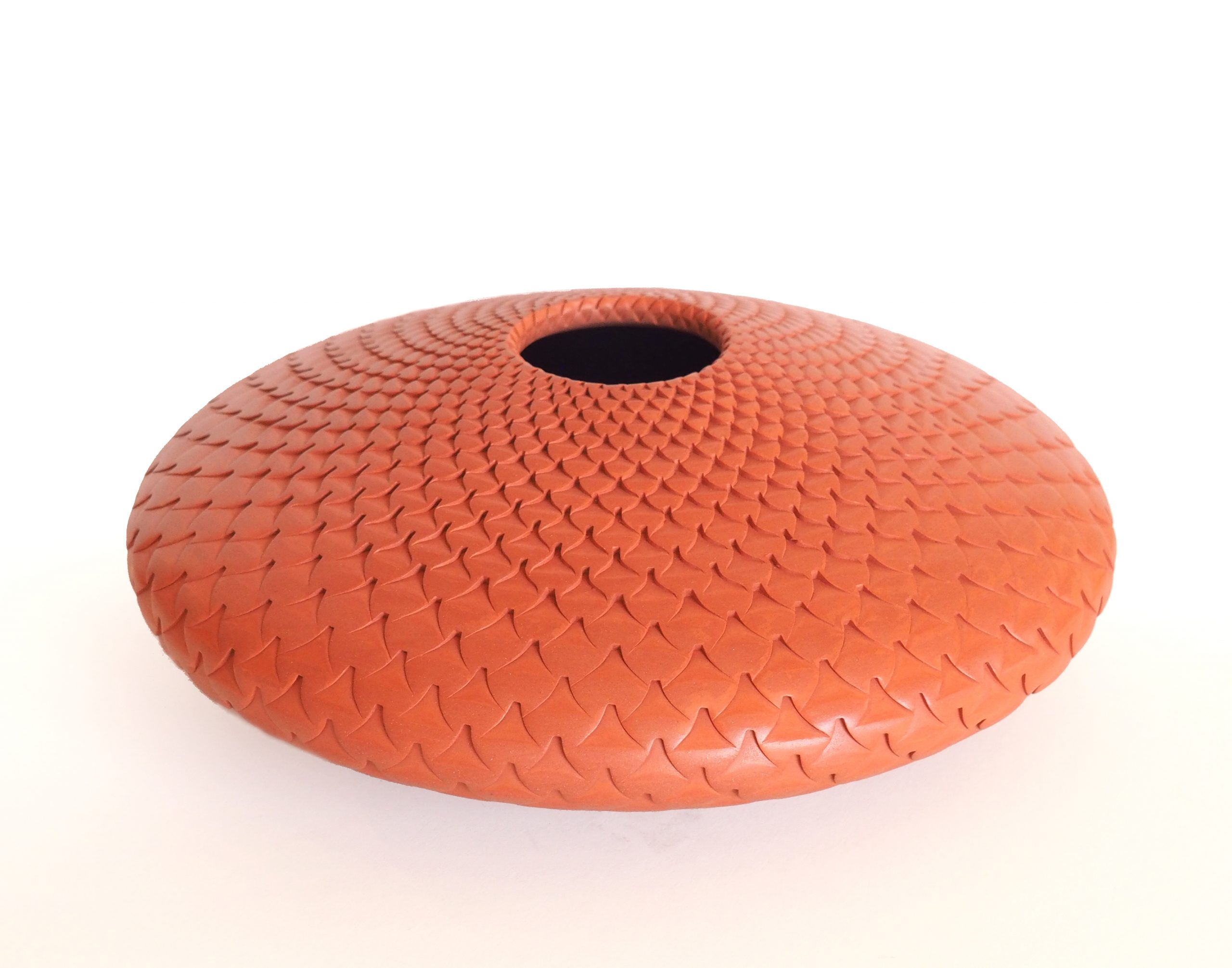 "Michael Wisner, ""Red Lotus Kauai (46),"" Handmade Clay, 3.50 x 10 x 10 in"
