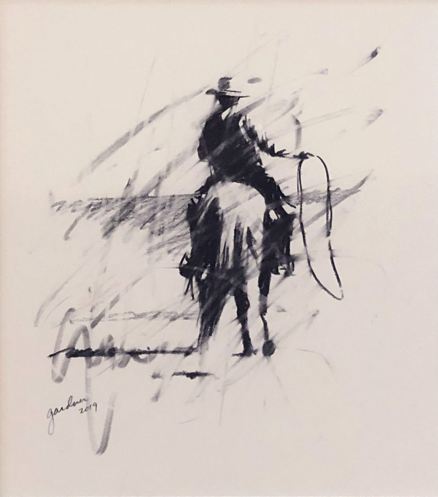 Terry  Gardner - Roping at Chico Basin (Study)