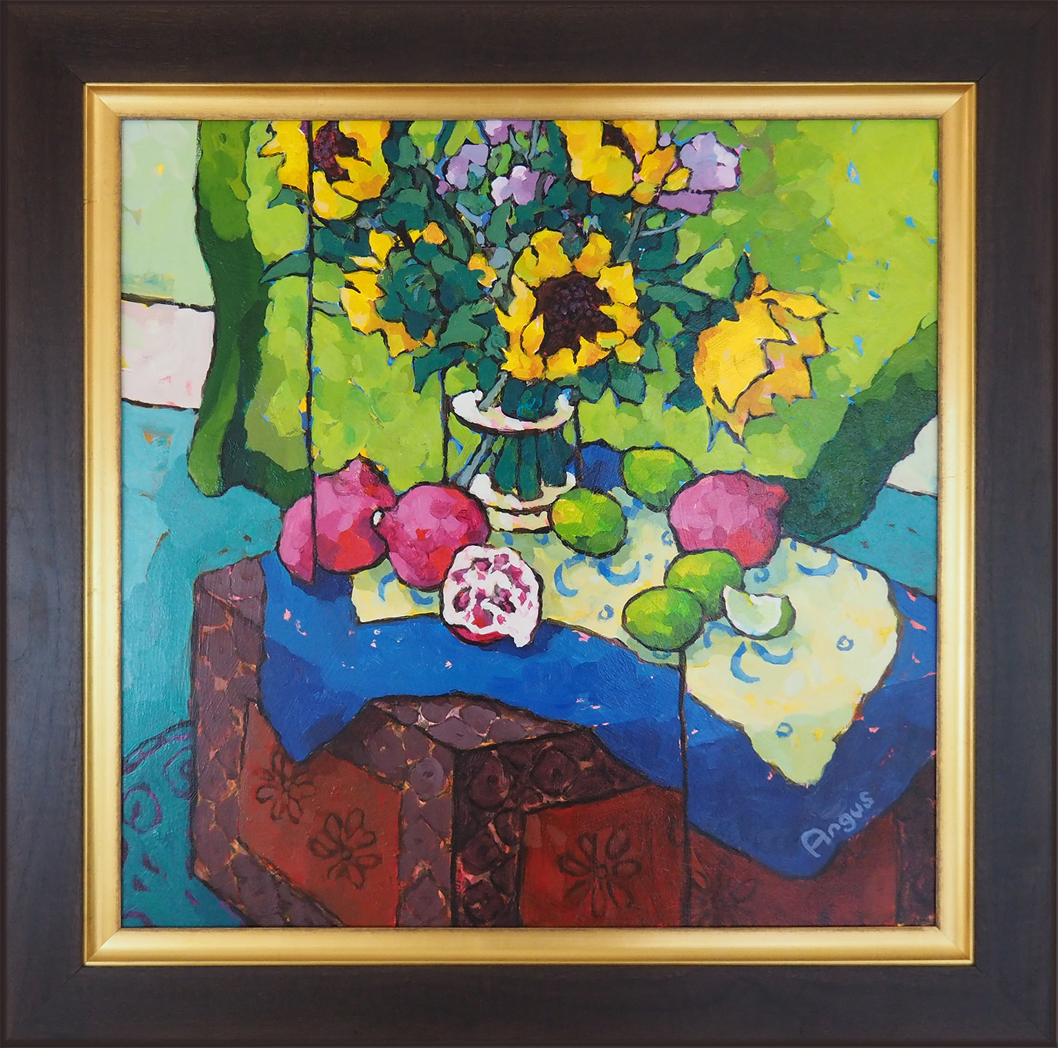 Angus Wilson - Sunflowers, Poms & Limes on Painted Box