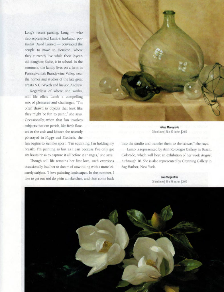 Sarah Lamb featured in Western Art & Architecture, Aug/Sept issue, Illuminations