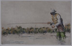 Joel  Ostlind  - The Bamboo Rod etching with watercolor